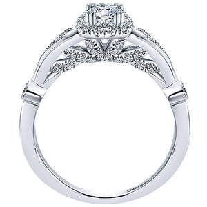 Gabriel 14K White Gold Pre-Set Diamond Vintage Style Cushion Halo Engagement Ring