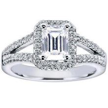 "Load image into Gallery viewer, Gabriel ""Addison"" Emerald Cut Halo Diamond Engagement Ring"