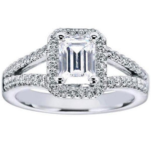 "Gabriel ""Addison"" Emerald Cut Halo Diamond Engagement Ring"