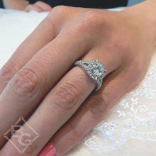 "Load image into Gallery viewer, Gabriel Amavida ""Absolute"" Cushion Halo Split Shank Diamond Engagement Ring"