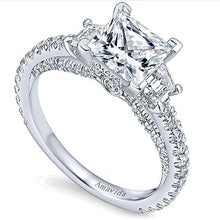 "Load image into Gallery viewer, Gabriel Amavida ""Knight"" Princess Cut Three Stone Diamond Engagement Ring"