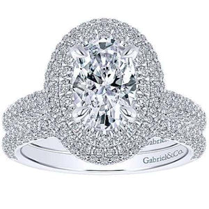 "Gabriel Amavida ""Lolita"" Oval Double Halo Prong Set Diamond Engagement Ring"