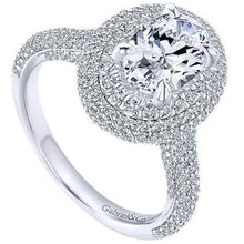 "Load image into Gallery viewer, Gabriel Amavida ""Lolita"" Oval Double Halo Prong Set Diamond Engagement Ring"