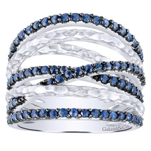 Load image into Gallery viewer, Gabriel Blue Sapphire Right Hand Wave Ring in Sterling Silver