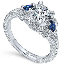 "Load image into Gallery viewer, Gabriel ""Chrystie"" Diamond & Blue Sapphire Halo Engagement Ring"