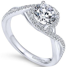 "Load image into Gallery viewer, Gabriel ""Courtney"" Twist Diamond Halo Engagement Ring"