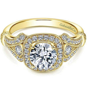 "Gabriel ""Delilah"" Vintage Style Diamond Halo Engagement Ring"