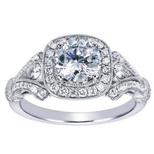 "Load image into Gallery viewer, Gabriel ""Delilah"" Vintage Style Diamond Halo Engagement Ring"
