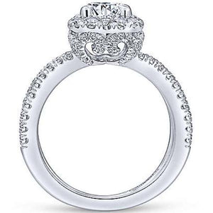 "Gabriel ""Delphinia"" Cushion Halo Split Shank Diamond Engagement Ring"