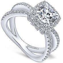 "Load image into Gallery viewer, Gabriel ""Delphinia"" Cushion Halo Split Shank Diamond Engagement Ring"