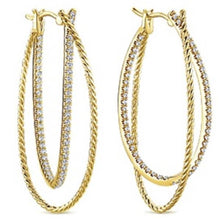 "Load image into Gallery viewer, Gabriel ""Double Diamond"" Hoop Earrings with Rope Texture"