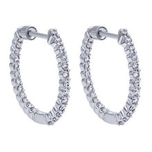 "Load image into Gallery viewer, Gabriel ""In & Out"" Classic Round Cut Diamond Hoop Earrings"