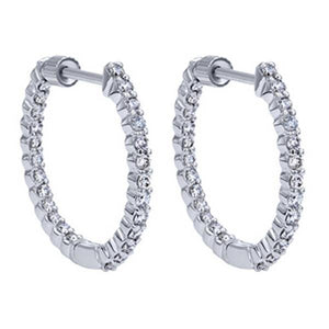 "Gabriel ""In & Out"" Classic Round Cut Diamond Hoop Earrings"