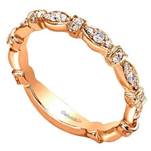 "Load image into Gallery viewer, Gabriel ""Josephine"" Vintage Styled 0.29 Carat Diamond Ring in 14K Rose Gold"