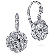 Load image into Gallery viewer, Gabriel Lever Back Round Pave Cluster Halo Dangle Earrings