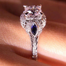 "Load image into Gallery viewer, Gabriel ""Lexington"" Diamond & Blue Sapphire Halo Engagement Ring"