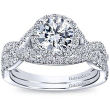 "Load image into Gallery viewer, Gabriel ""Marissa"" Twist Diamond Halo Engagement Ring"
