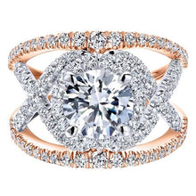 "Load image into Gallery viewer, Gabriel ""Naples"" Two-Tone Rose & White Halo Diamond Engagement Ring"