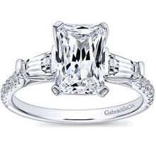 "Load image into Gallery viewer, Gabriel ""Sheryl"" Emerald Cut & Tapered Baguette Diamond Engagement Ring"