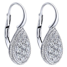 Load image into Gallery viewer, Gabriel Teardrop Pave Cluster Diamond Leverback Earrings