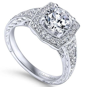 "Gabriel ""Theresa"" Vintage Style Halo Diamond Engagement Ring"