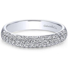 Load image into Gallery viewer, Gabriel Three Row Pave Diamond Anniversary Band