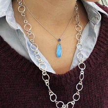 Load image into Gallery viewer, Gabriel Turquoise and Rock Crystal Sterling Silver Pendant