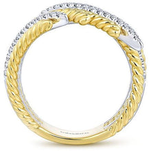 Load image into Gallery viewer, Gabriel Two-Tone Right Hand Rope Texture Diamond Ring