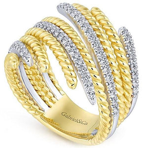 Gabriel Two-Tone Right Hand Rope Texture Diamond Ring