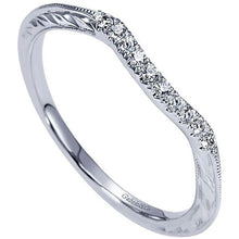 Load image into Gallery viewer, Gabriel Victorian Style Curved Engraved Diamond Wedding Band
