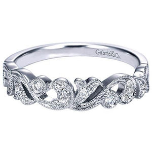 Gabriel Vintage Style Filigree Scrollwork Diamond Ring