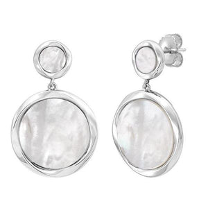 Honora Sterling Silver Mother of Pearl Disc Earrings