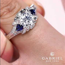 "Load and play video in Gallery viewer, Gabriel ""Chrystie"" Diamond & Blue Sapphire Halo Engagement Ring"