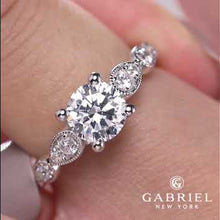"Load and play video in Gallery viewer, Gabriel ""Garland"" Miligrain Vintage Style Diamond Engagement Ring"