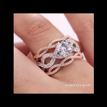 "Load and play video in Gallery viewer, Gabriel ""Calm"" Two Tone Rose & White Twist Diamond Engagement Ring"