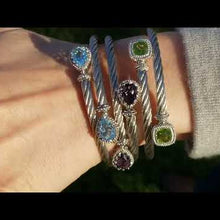Load and play video in Gallery viewer, Gabriel Steel and Sterling Silver Blue Topaz Cable Bangle