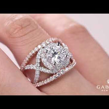 "Load and play video in Gallery viewer, Gabriel ""Naples"" Two-Tone Rose & White Halo Diamond Engagement Ring"