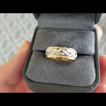 "Load and play video in Gallery viewer, Artcarved ""Intrigue"" Two Tone Crosshatch Wedding Band with Rolled Edges"