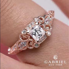 "Load and play video in Gallery viewer, Gabriel ""Halsey"" Victorian Style Filigree Diamond Halo Engagement Ring"