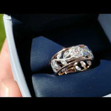 Load and play video in Gallery viewer, Simon G. 18K White and Rose Gold Vintage Style Flower Ring
