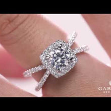"Load and play video in Gallery viewer, Gabriel ""Delphinia"" Cushion Halo Split Shank Diamond Engagement Ring"