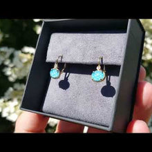 Load and play video in Gallery viewer, Gabriel Turquoise and Rock Crystal Diamond Earrings