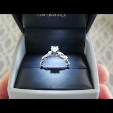 Load and play video in Gallery viewer, Simon G. Vintage Style Scrollwork Filigree Diamond Engagement Ring
