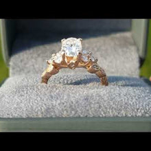 Load and play video in Gallery viewer, Artcarved Adeline Rose Gold Oval Cut Diamond Engagement Ring