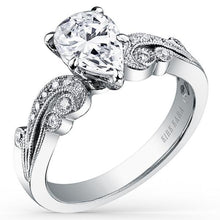 "Load image into Gallery viewer, Kirk Kara ""Angelique"" Scroll Work Pear Cut Diamond Engagement Ring"