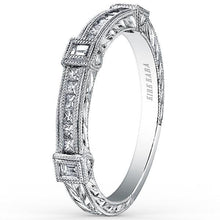 "Load image into Gallery viewer, Kirk Kara ""Carmella"" Cushion Halo Baguette Station Diamond Engagement Ring"