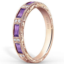 "Load image into Gallery viewer, Kirk Kara ""Charlotte"" Baguette Cut Purple Amethyst Diamond Wedding Band"