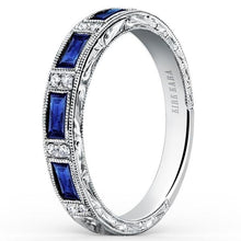 "Load image into Gallery viewer, Kirk Kara ""Charlotte"" Blue Sapphire Baguette Cut Diamond Wedding Band"