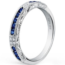 "Load image into Gallery viewer, Kirk Kara ""Charlotte"" Blue Sapphire Diamond Wedding Band"
