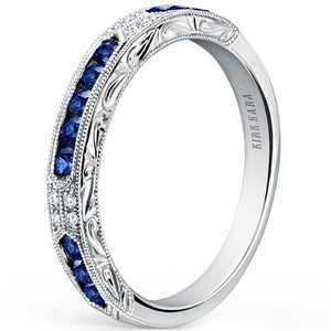 "Kirk Kara ""Charlotte"" Blue Sapphire Diamond Wedding Band"